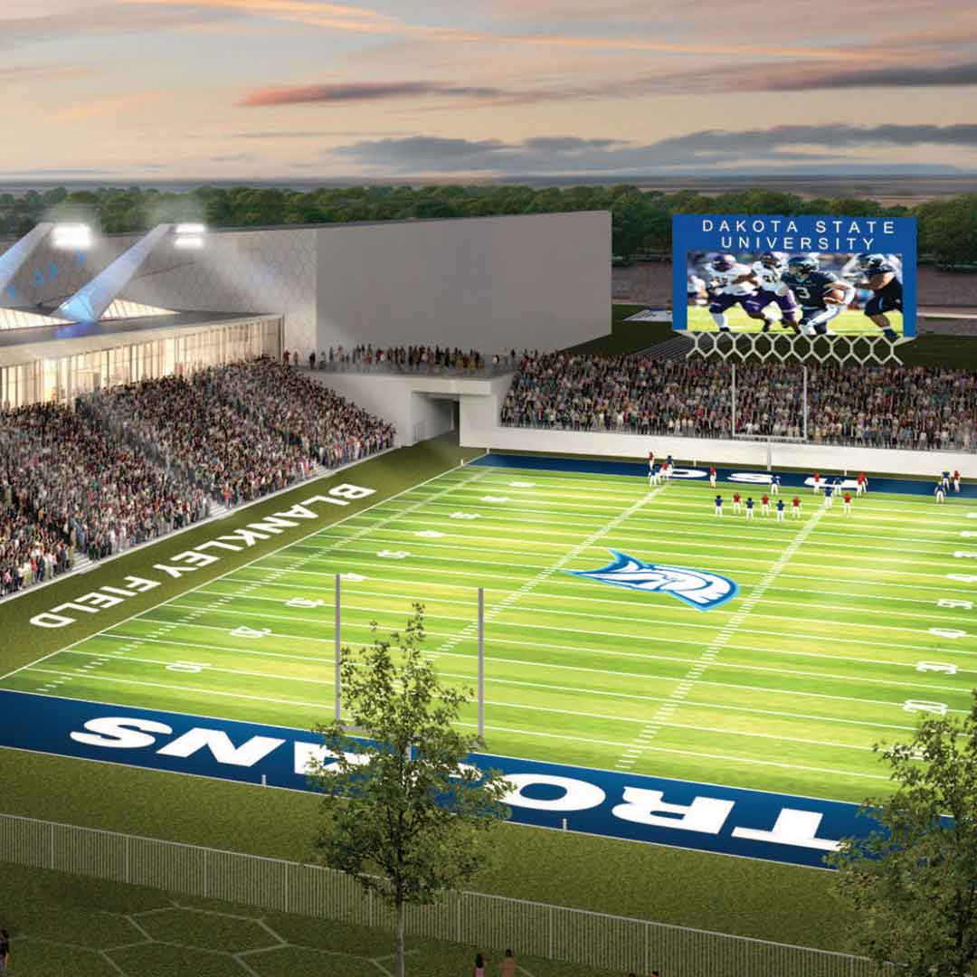 Rendering of the proposed new Blankley Field at Dakota State University..