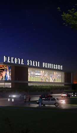 DSU Events Center rendering at night