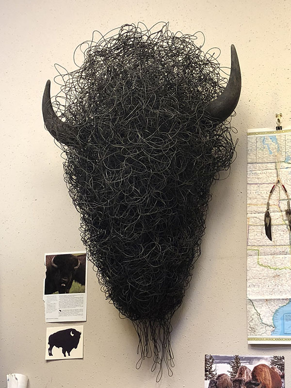 Angela Behrends bison head wire sculpture