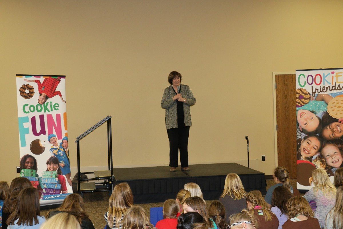 Dr. Griffiths speaking to Girl Scouts