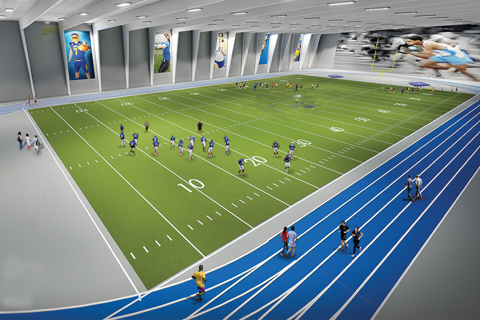DSU indoor practice facility and field house rendering