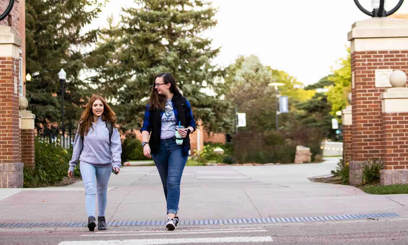 Students walking on DSU campus