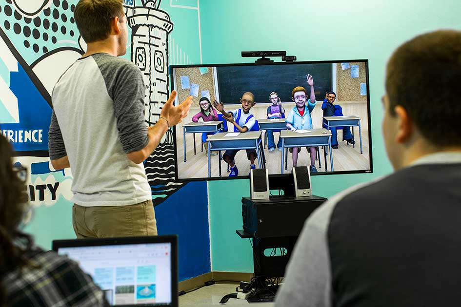 VALE image, students interacting with virtual classrooms